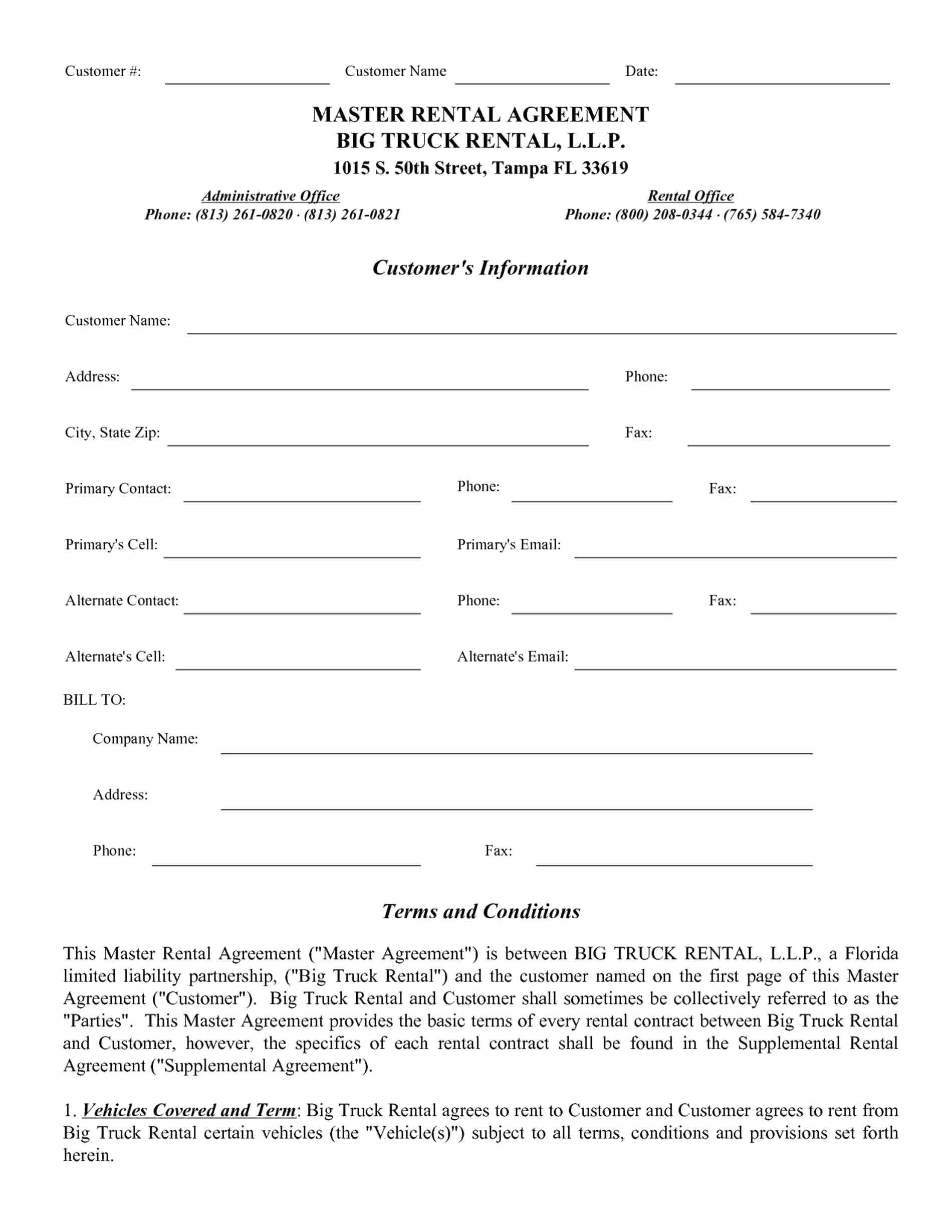 Template Truck Lease Agreement Template Commercial Truck Lease Agreement Form