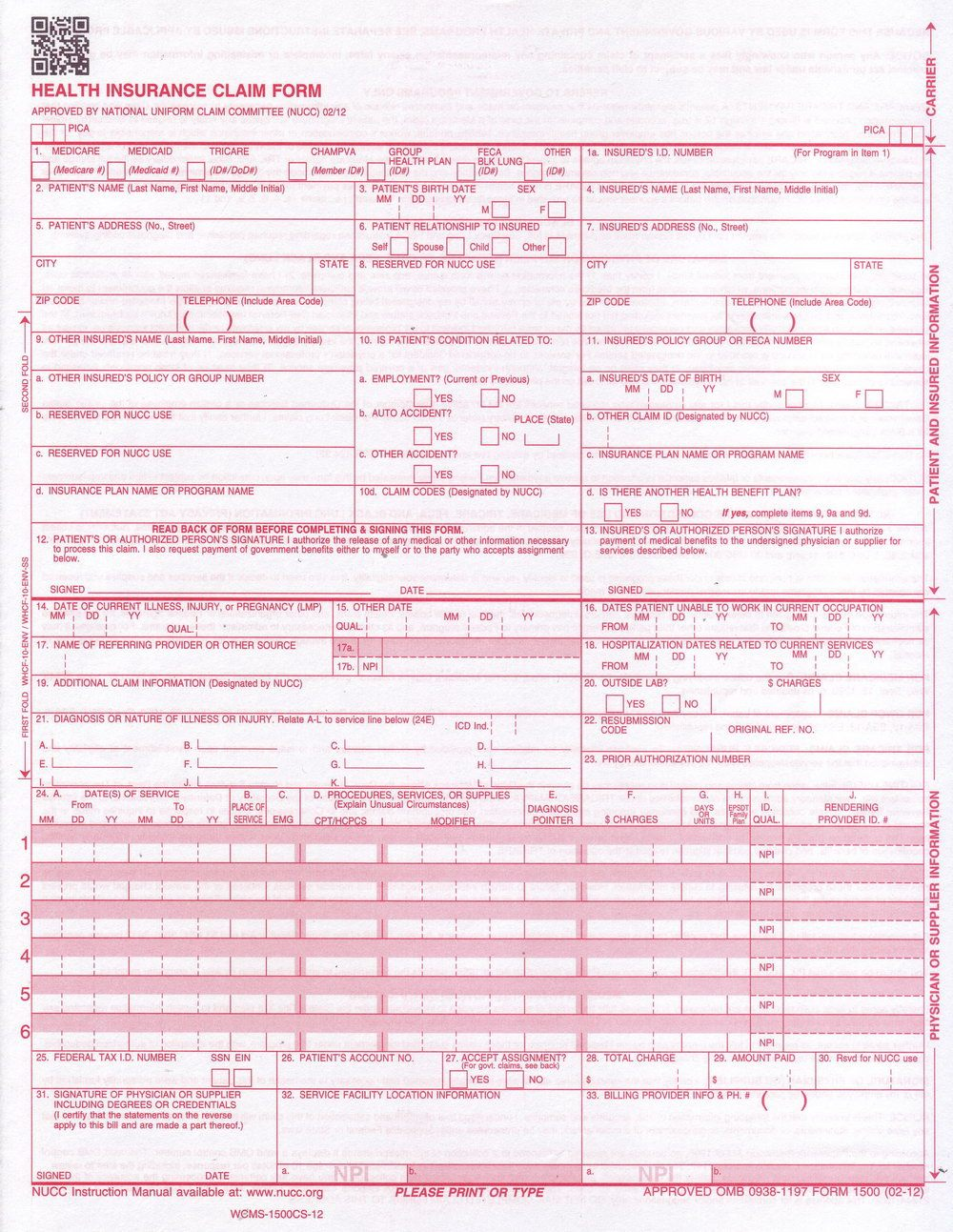 Completed Cms 1500 Claim Form Sample