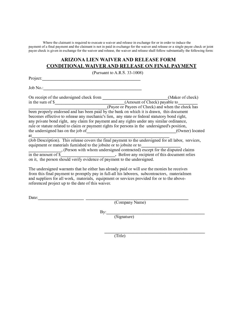 Conditional Release Of Lien Form Florida