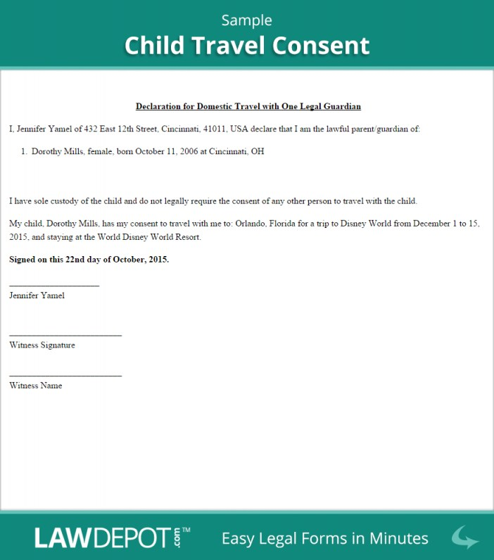 Consent Form For International Travel One Parent