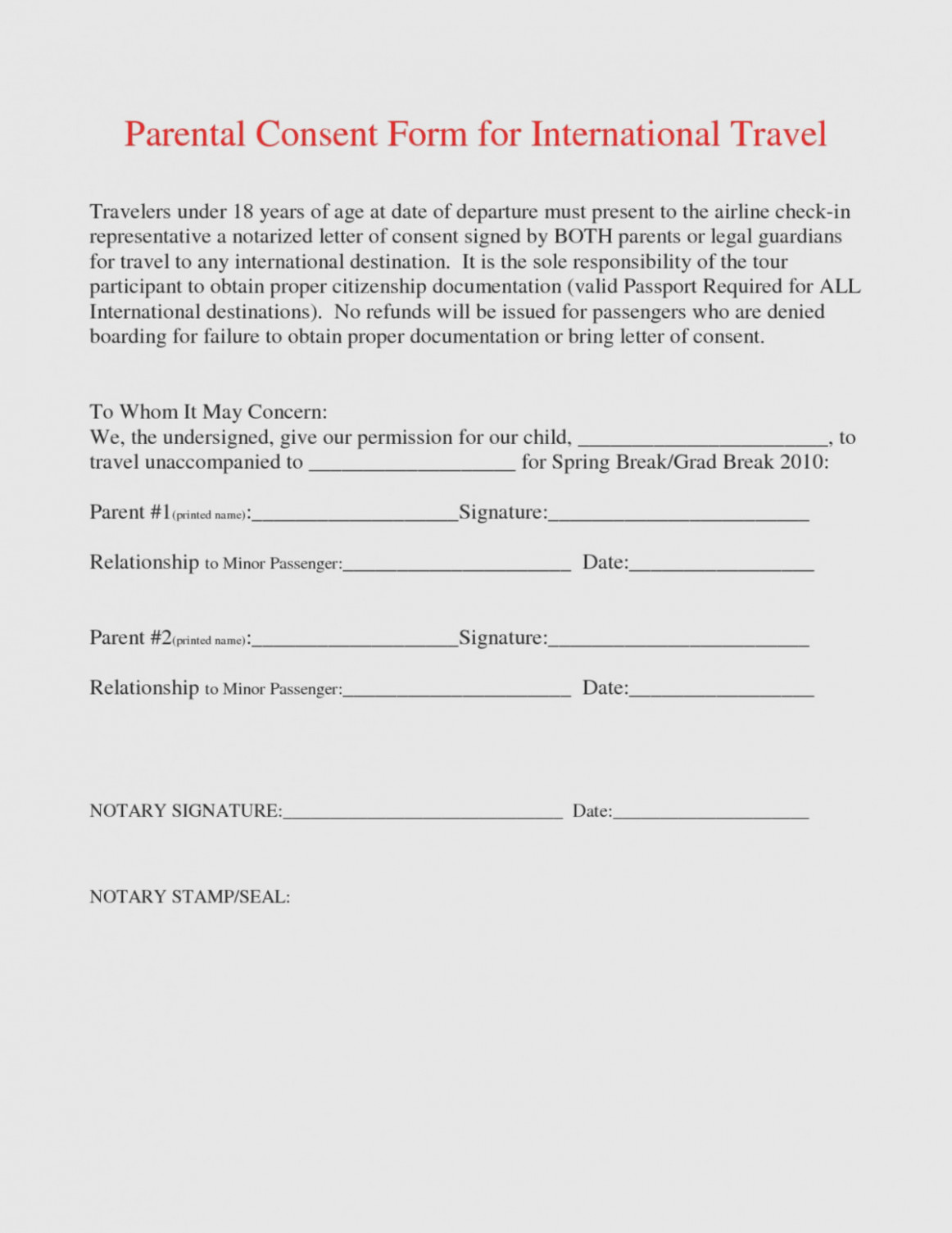 Consent Form For Minor Traveling With One Parent