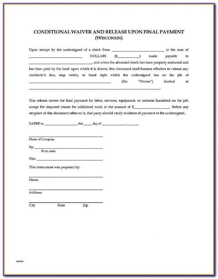 Construction Lien Forms Wisconsin