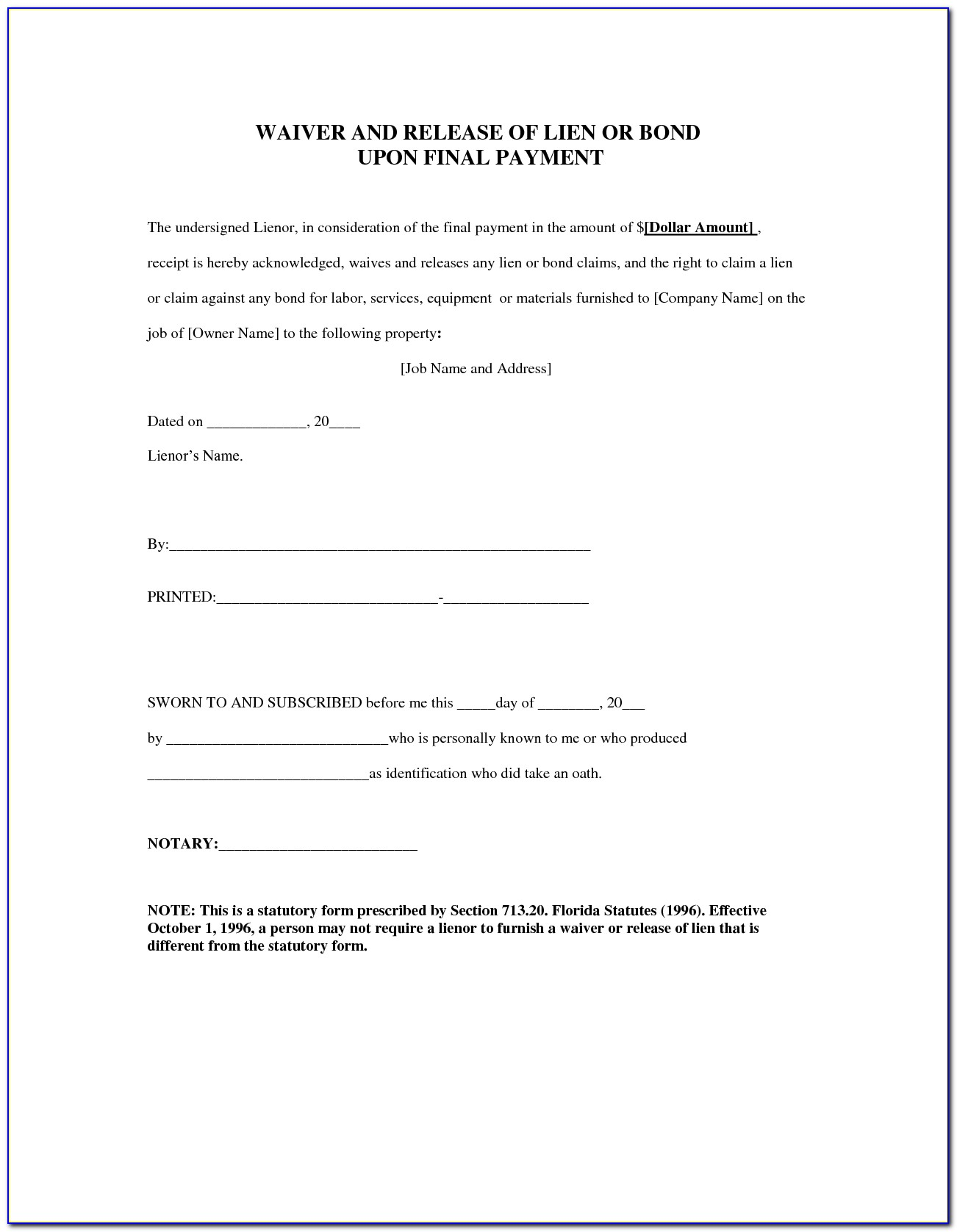 Construction Lien Release Form Montana