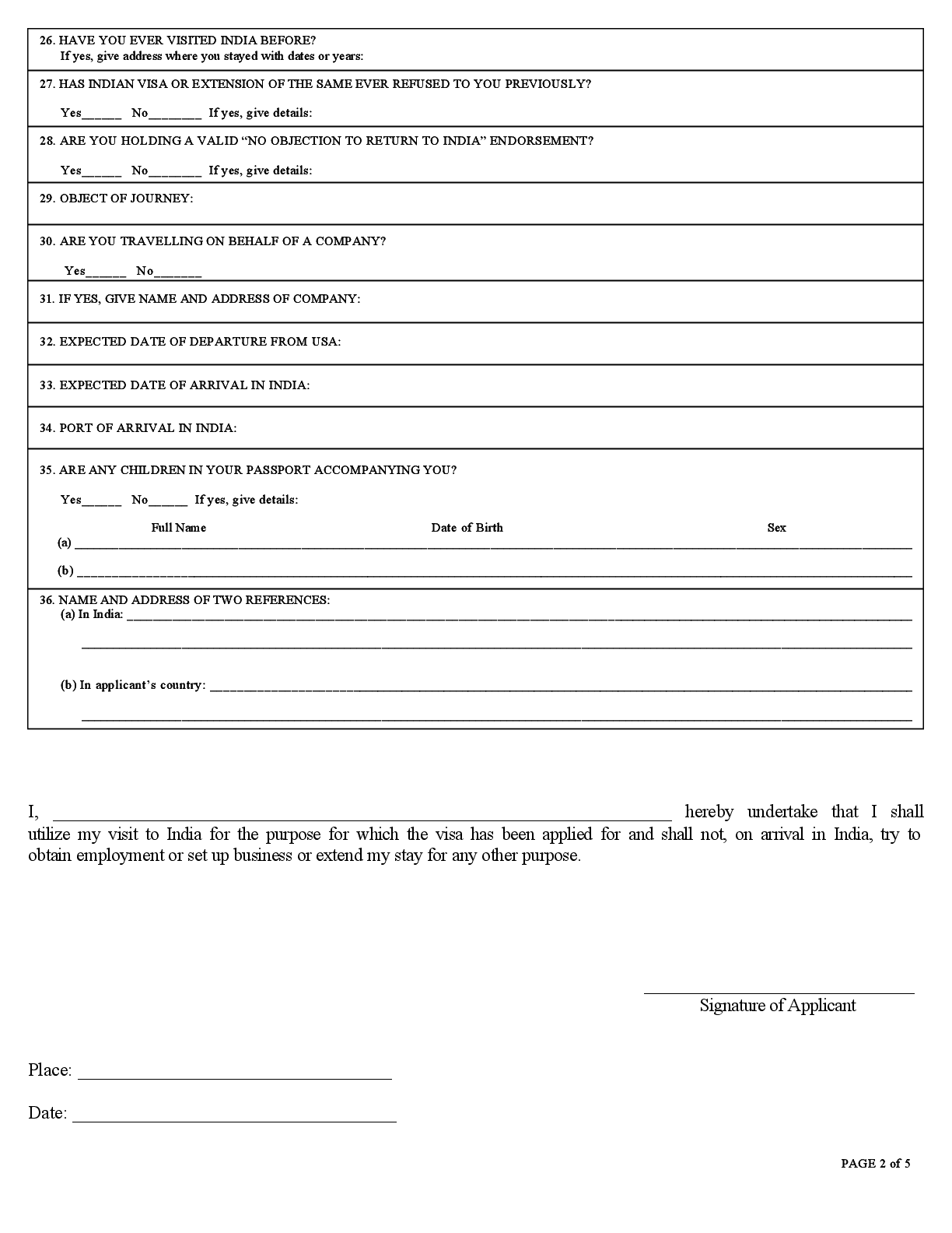 Consulate General Of India Houston Visa Application Form
