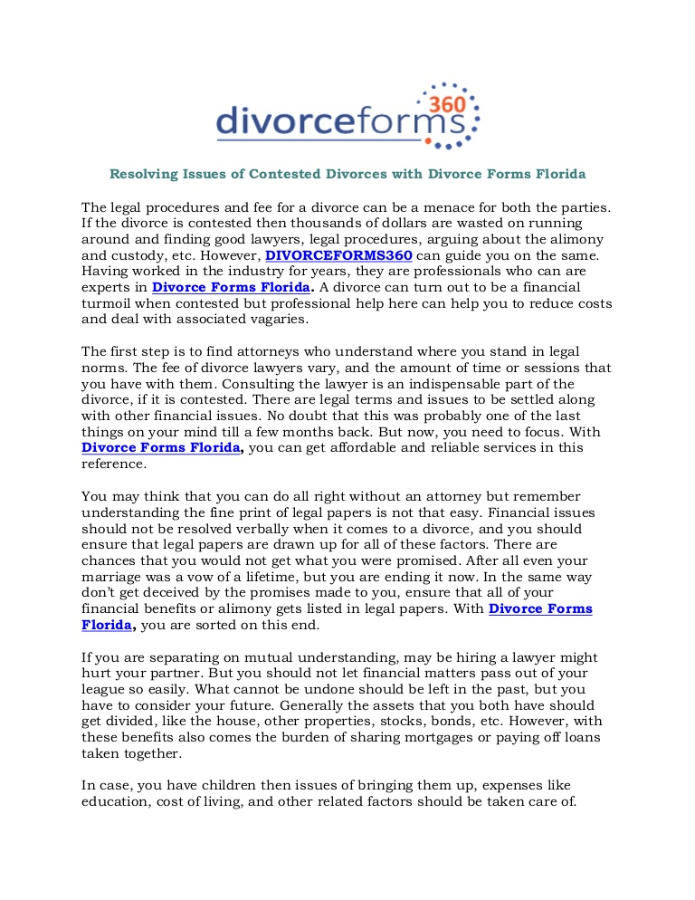 Contested Divorce Forms Florida