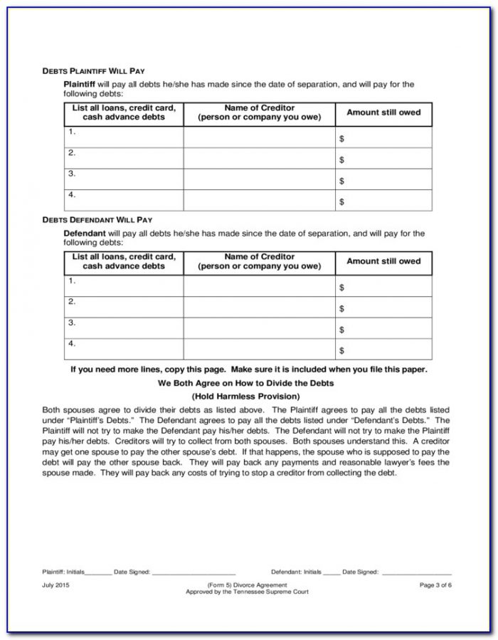 Contested Divorce Forms Tennessee