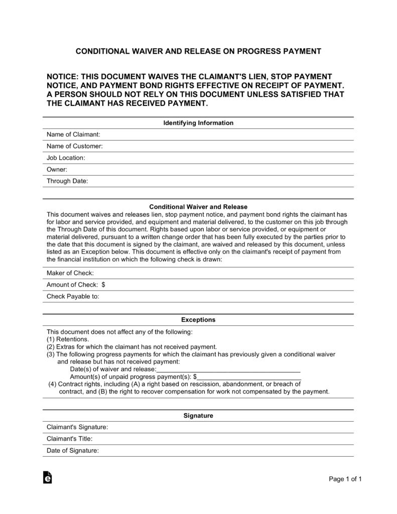 Contractor Lien Release Form Colorado