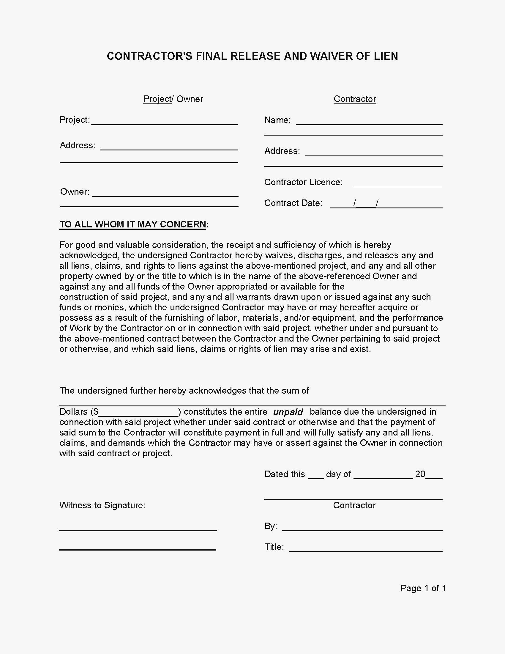 Contractor Lien Release Form Florida