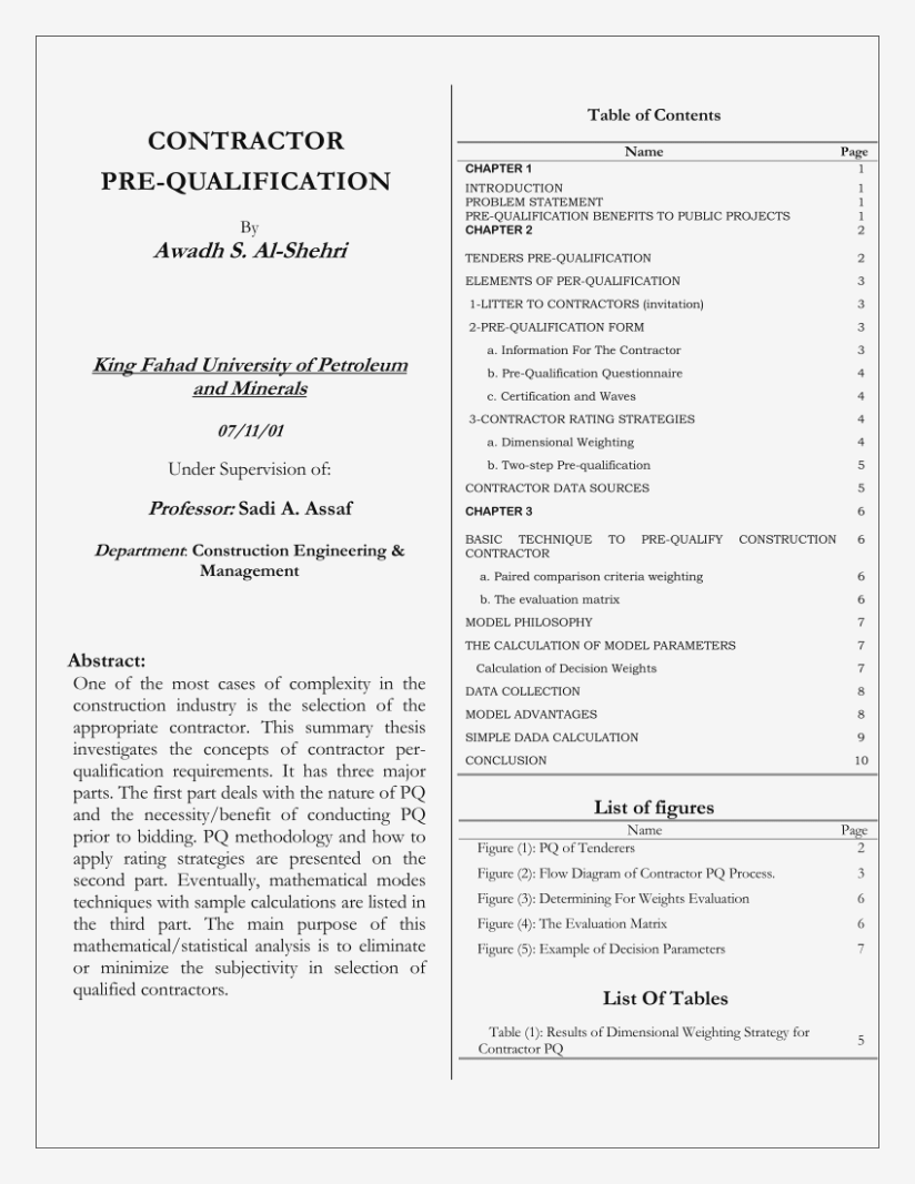 Contractor Pre Qualification Evaluation Form