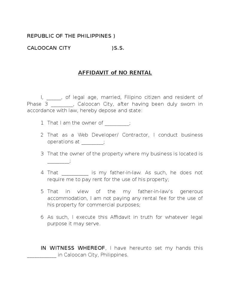 Contractor's Affidavit Form Philippines