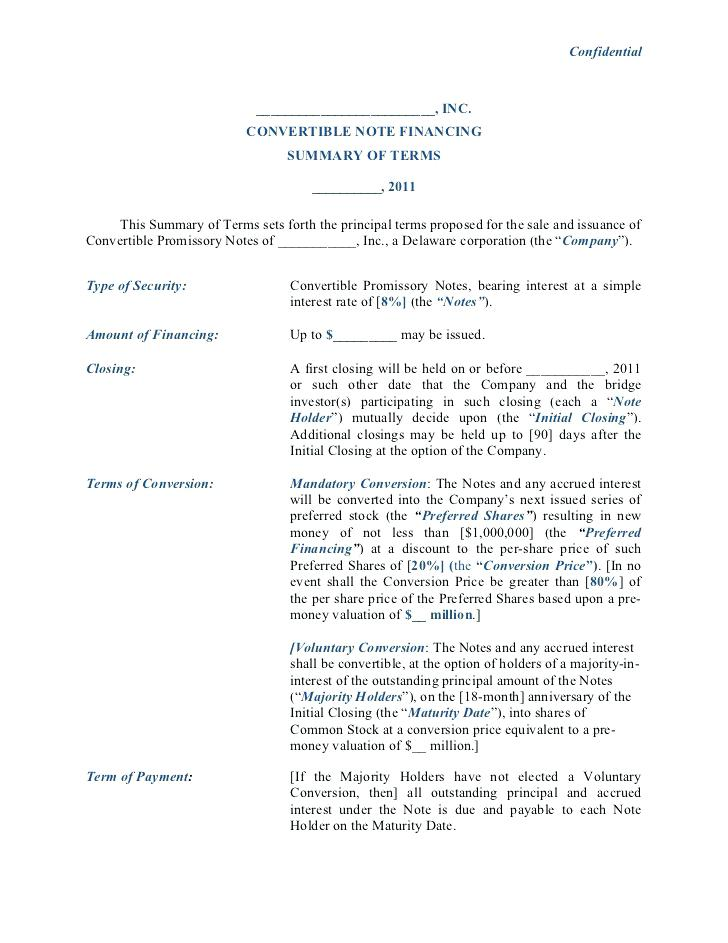 Convertible Promissory Note Form