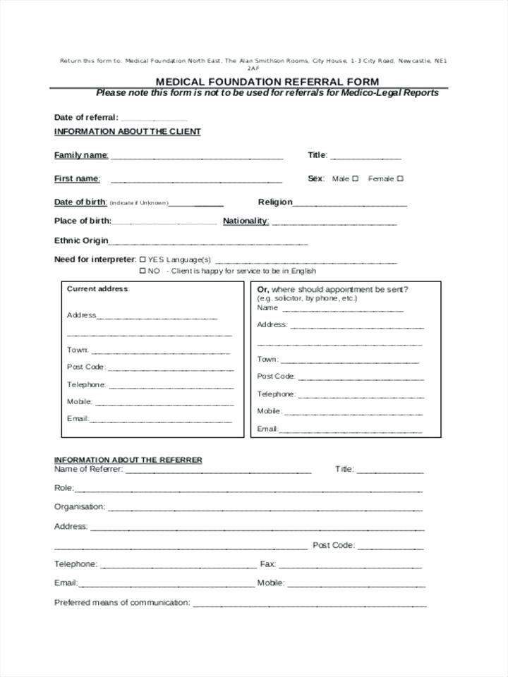 Counseling Referral Form Template