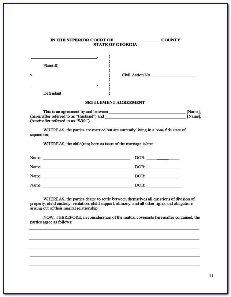 Court Approved Divorce Forms Georgia