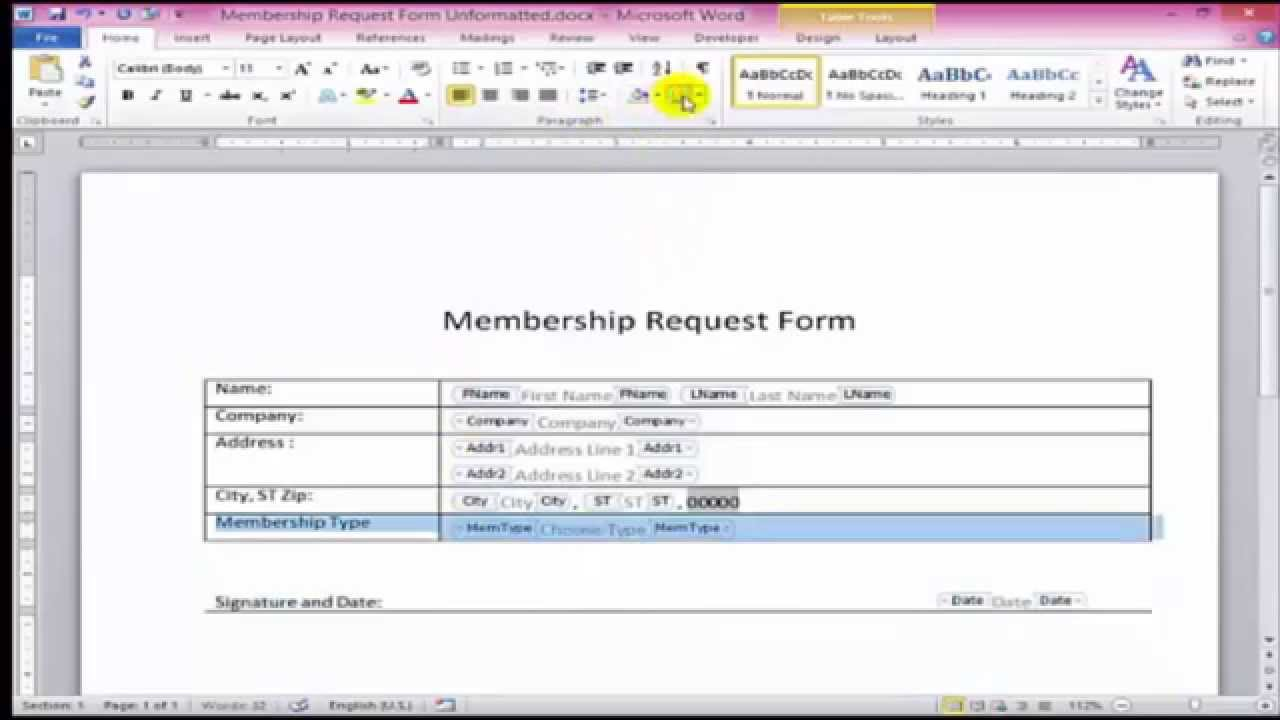Create Fillable Form In Word 2013 Pdf