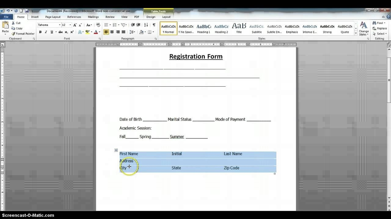 How To Create A Fillable Form Using Ms Word 2010 Part 1 Youtube Intended For How To Create A Fillable Form In Word