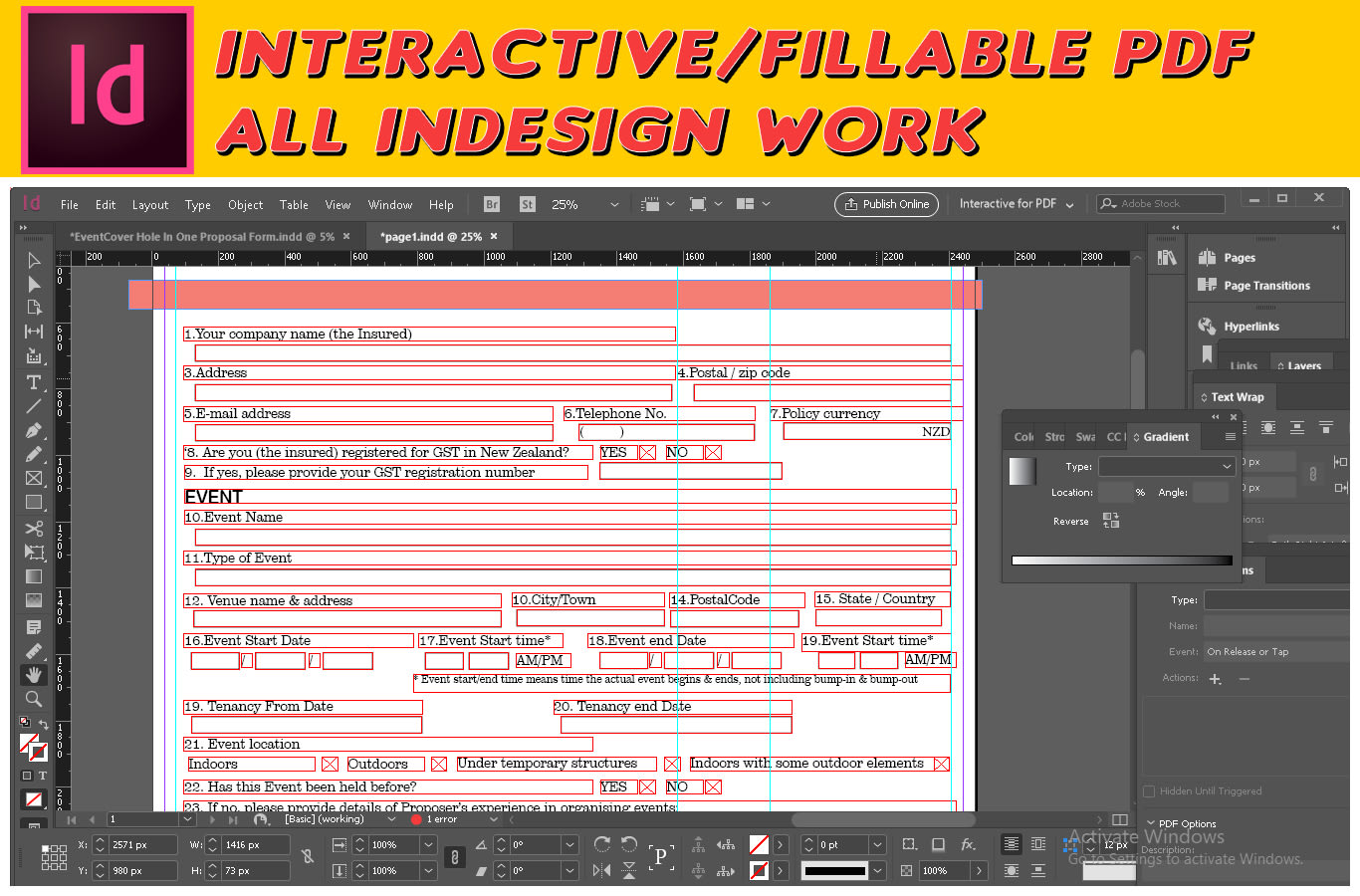 Create Fillable Form Indesign