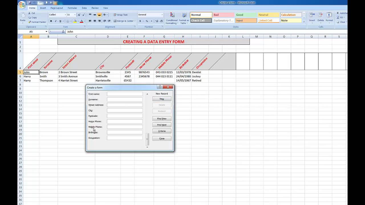 Creating A Fillable Form In Excel 2016