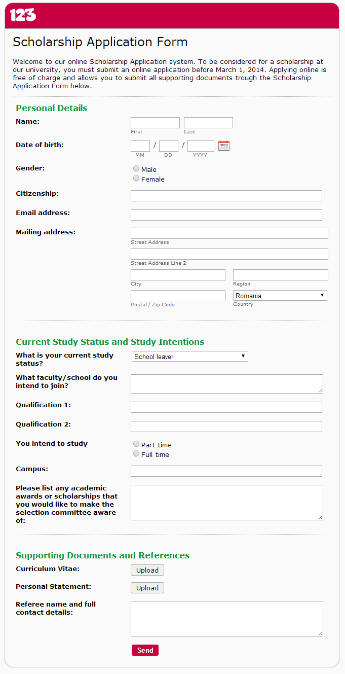Creating A Scholarship Application Form