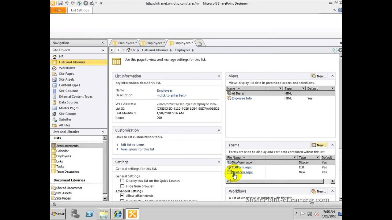Creating Forms In Sharepoint Designer 2010