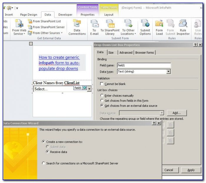 Creating Forms On Sharepoint 2010
