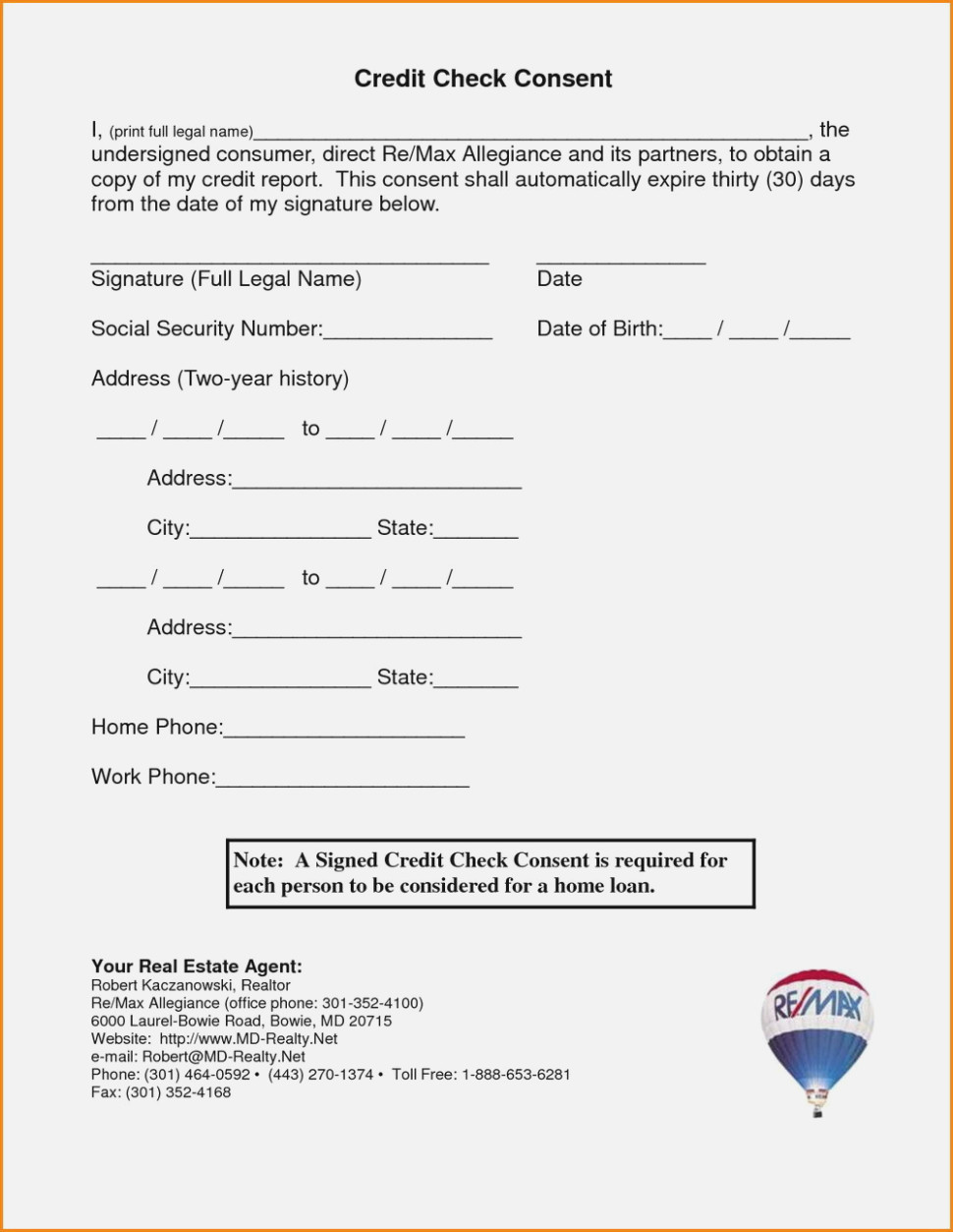 Credit Check Application Form For Landlords