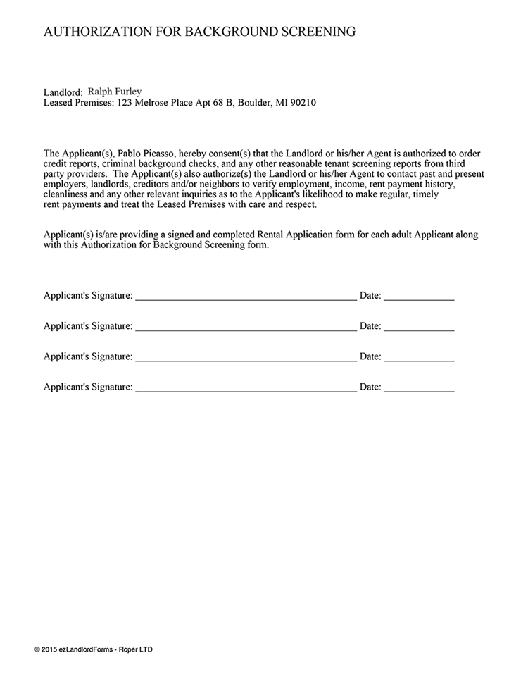 Credit Check Authorization Form For Tenant
