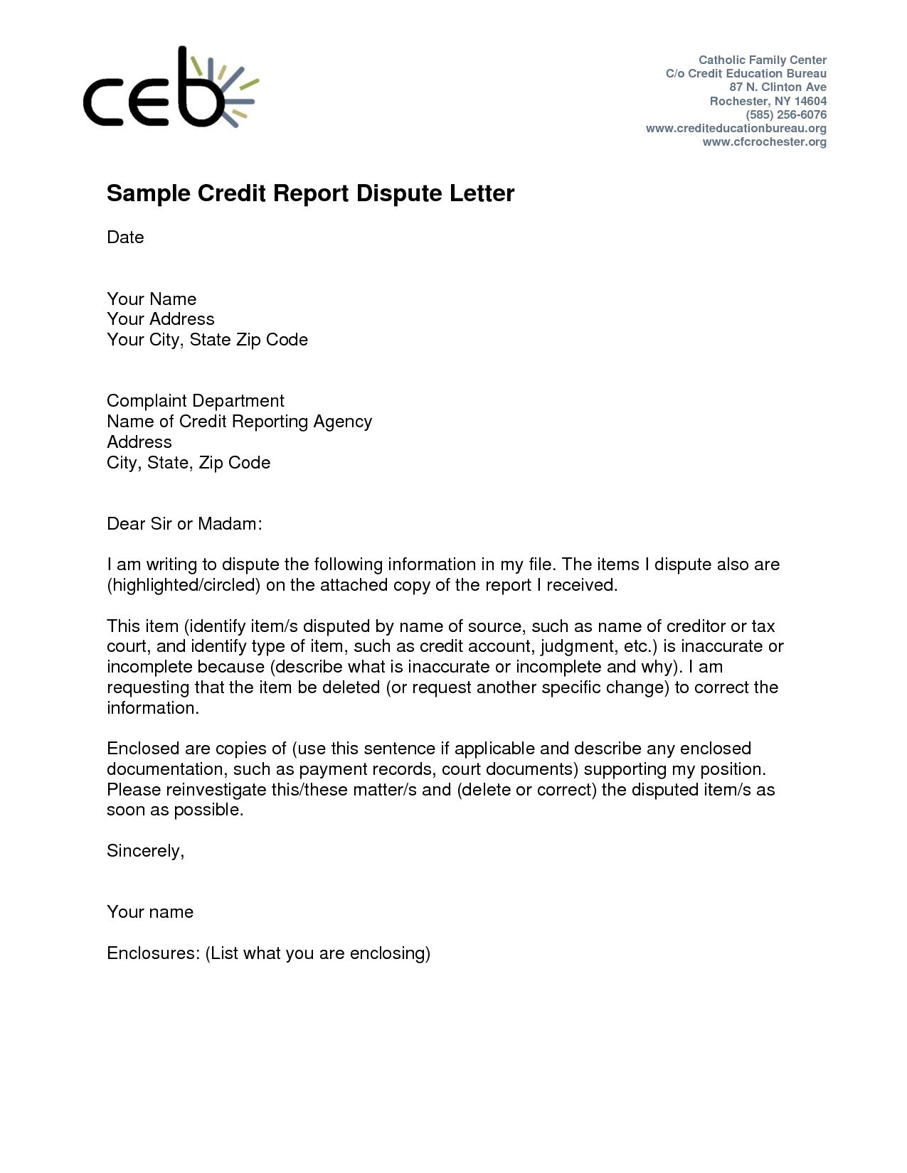 Credit Report Dispute Form Letter