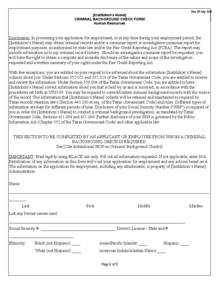 Criminal Background Check Pennsylvania Form