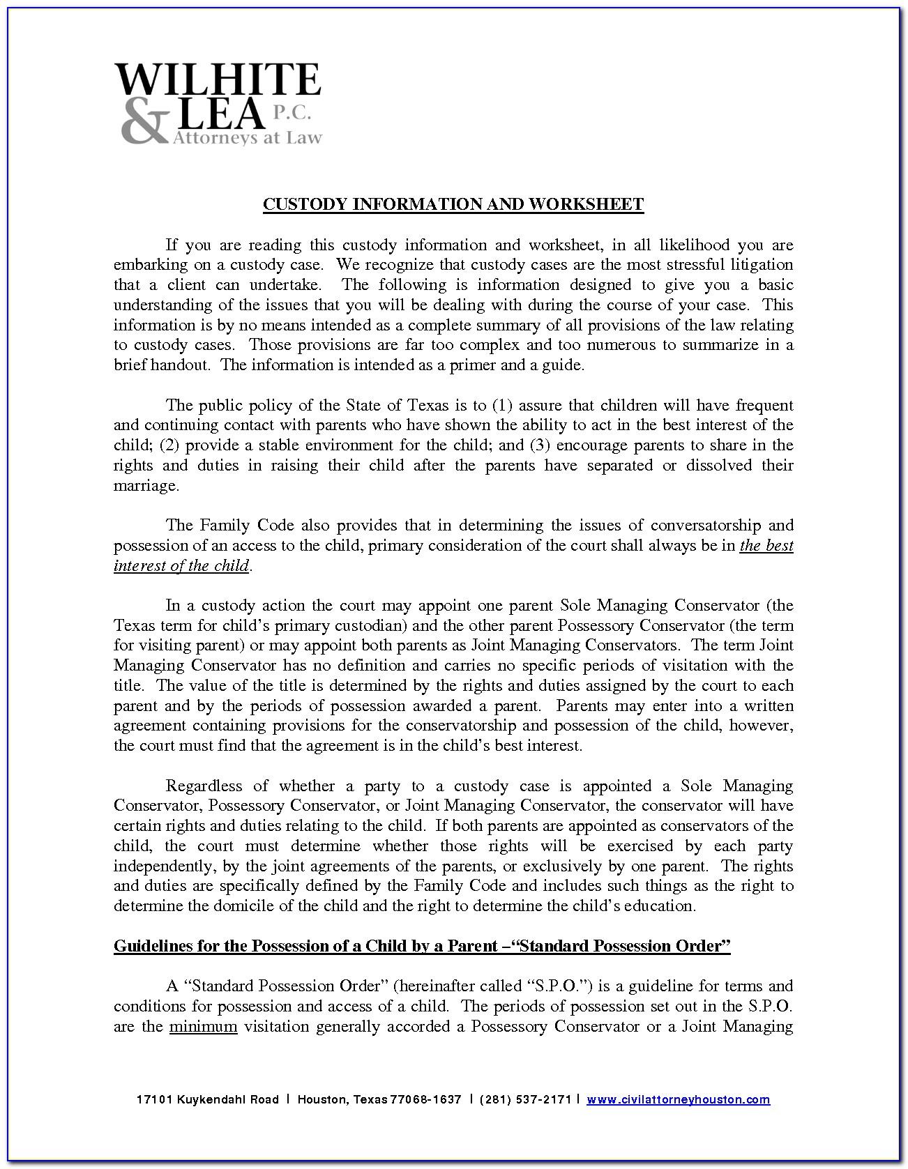 Custody Modification Forms Texas