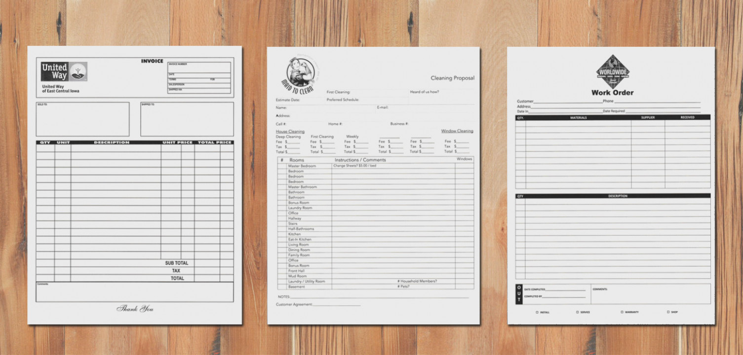 Custom Carbonless Copy Forms