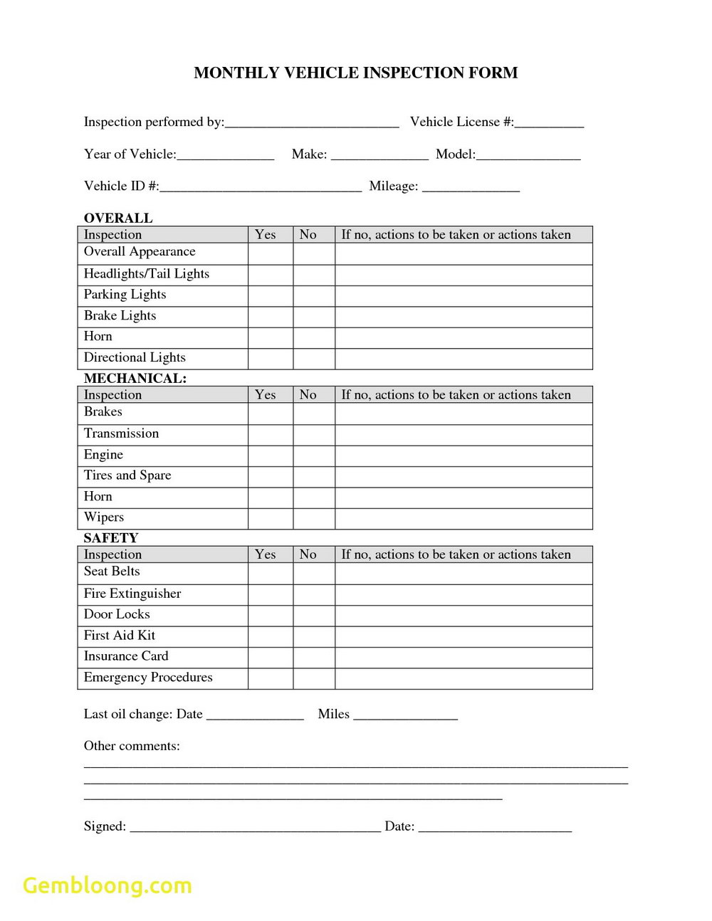 Daily Forklift Inspection Forms