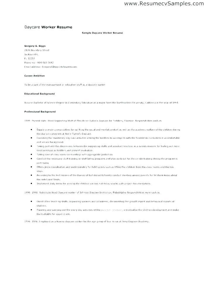 Daycare Application Form For Parents Sample