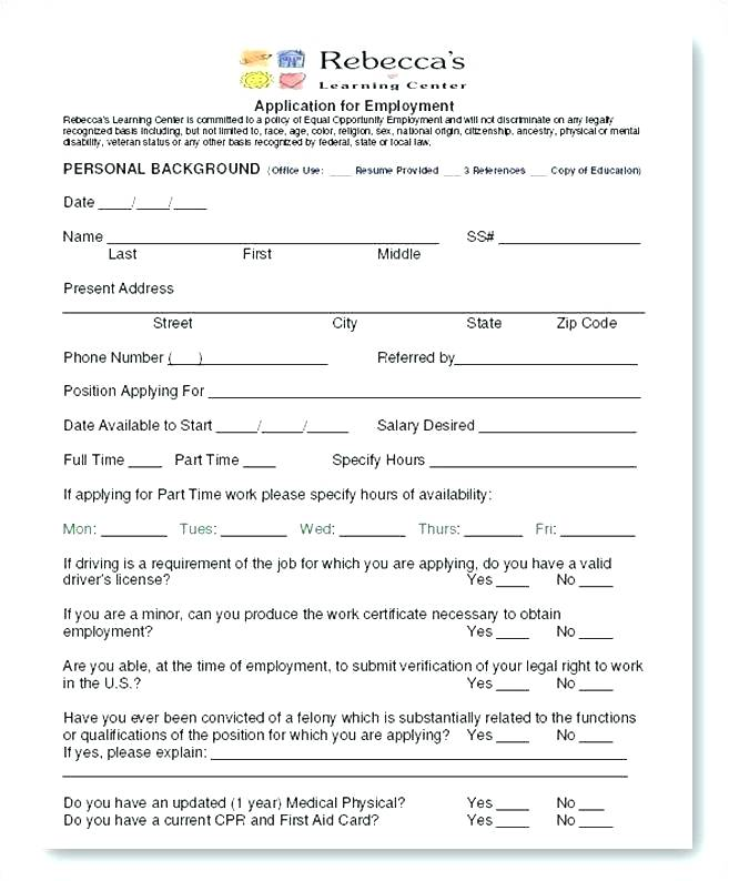 Daycare Employment Application Form