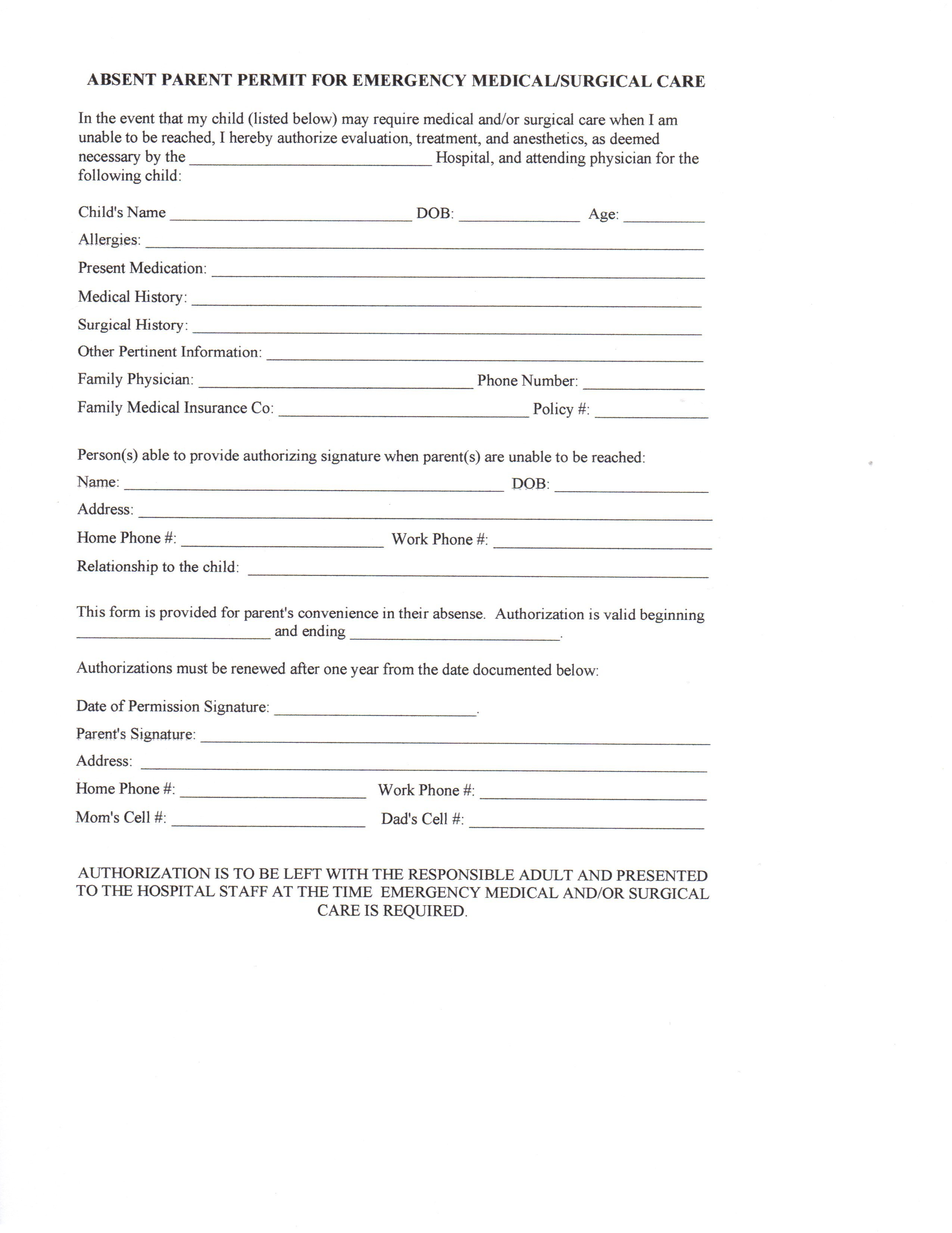 Daycare Form For Parents