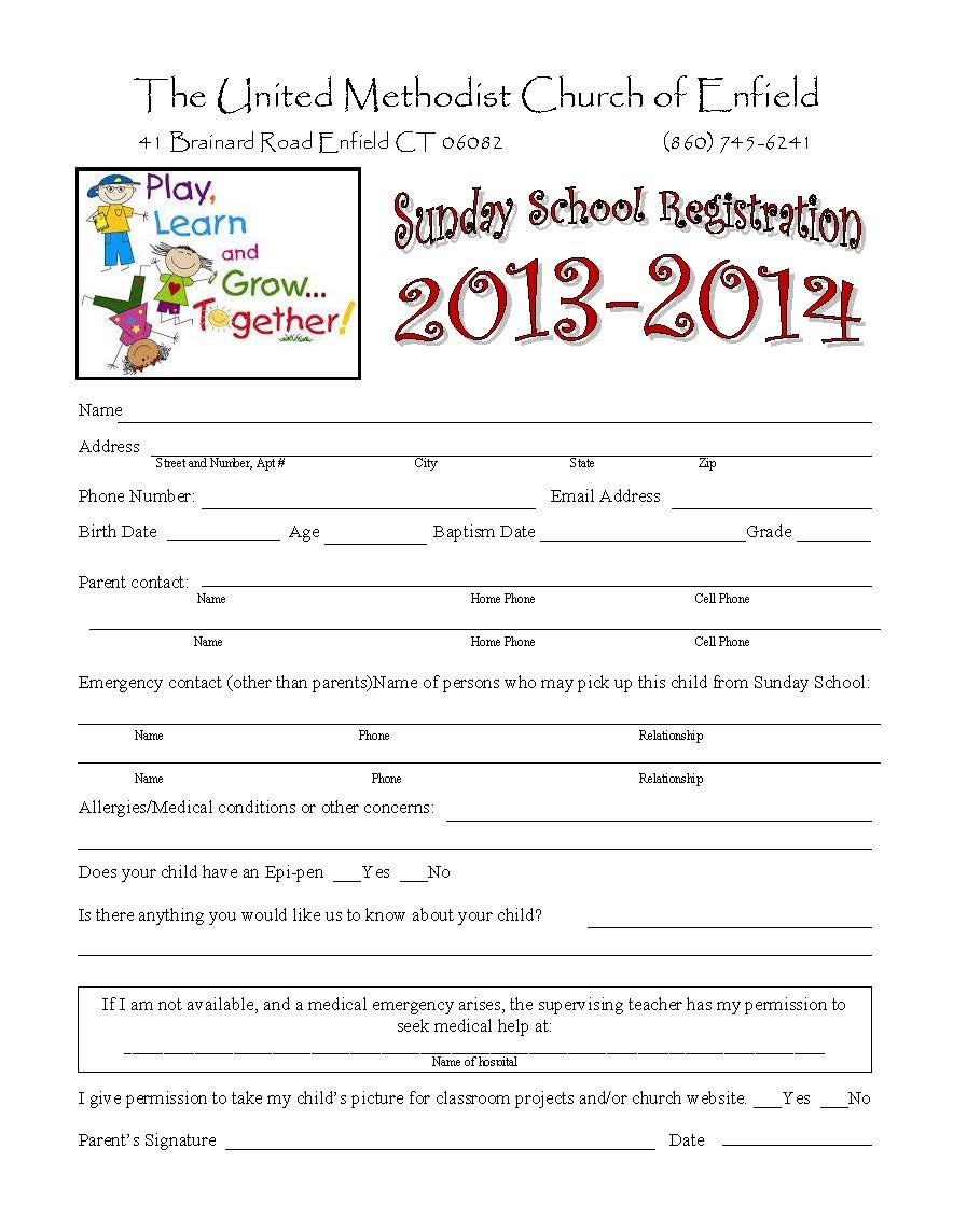 Daycare Registration Form Freebies