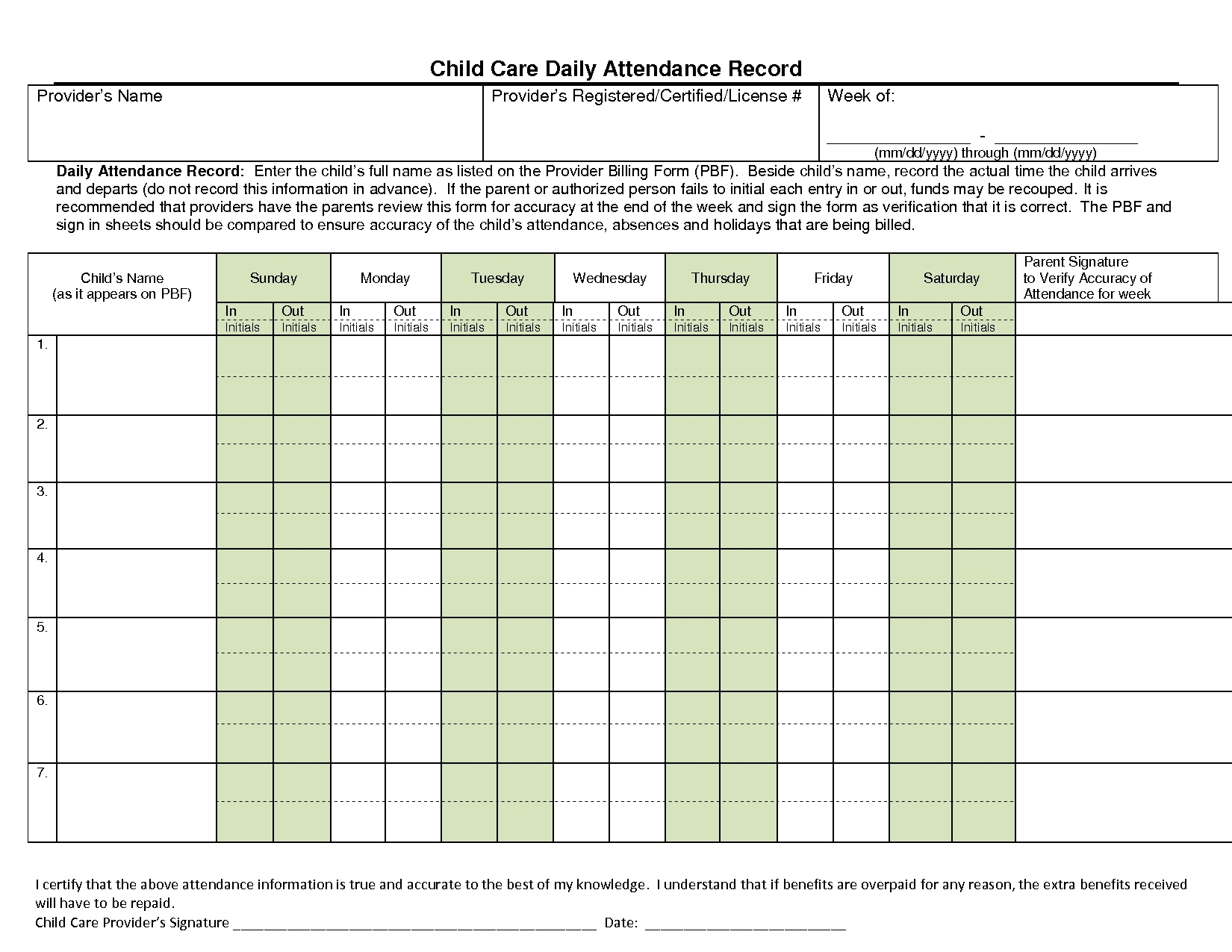 Day Care Attendance Sheet Template – Template Calendar Design Day Care Attendance Sheet Template
