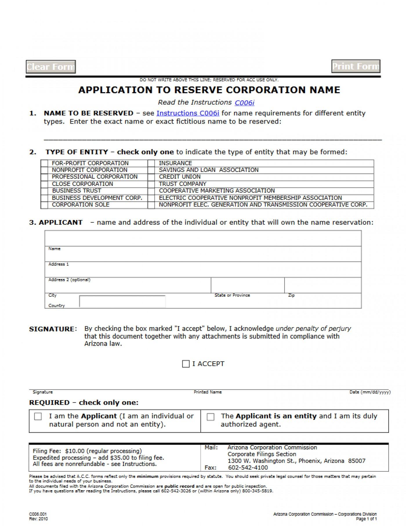 Dba Application Form Arizona