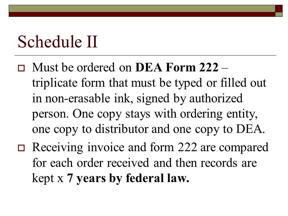 Dea Triplicate Order Forms