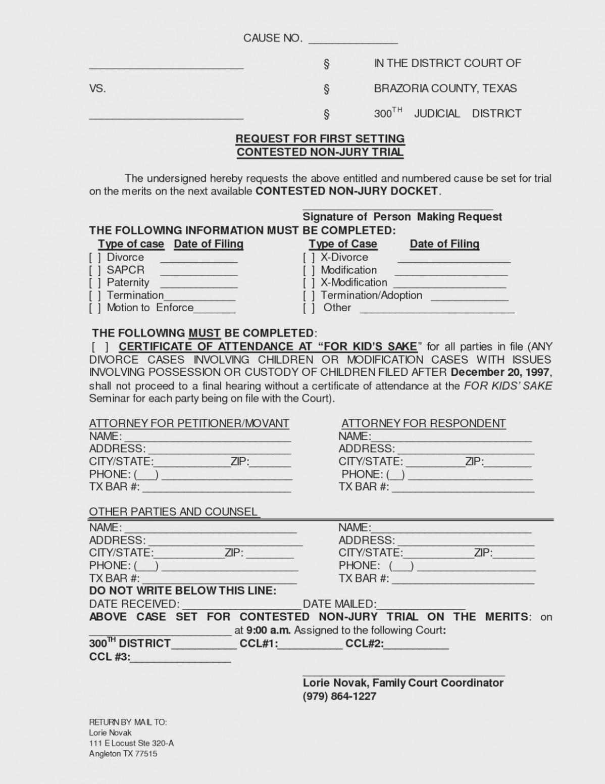 Decree Of Divorce Form Texas Free