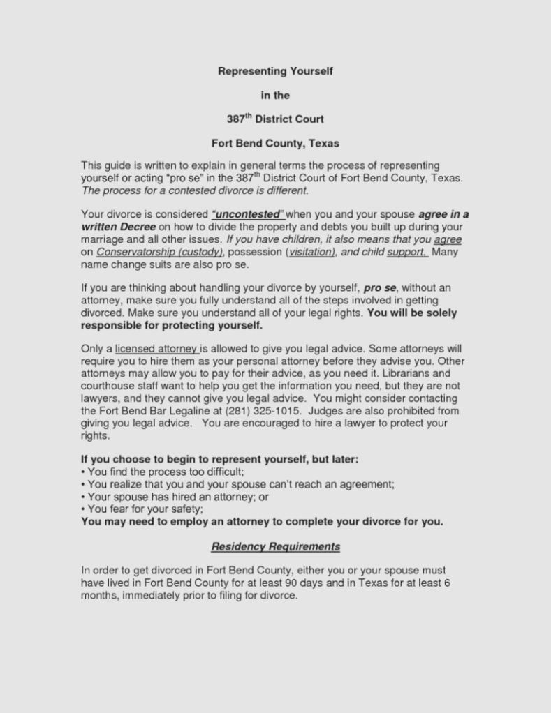 Decree Of Divorce Form Texas