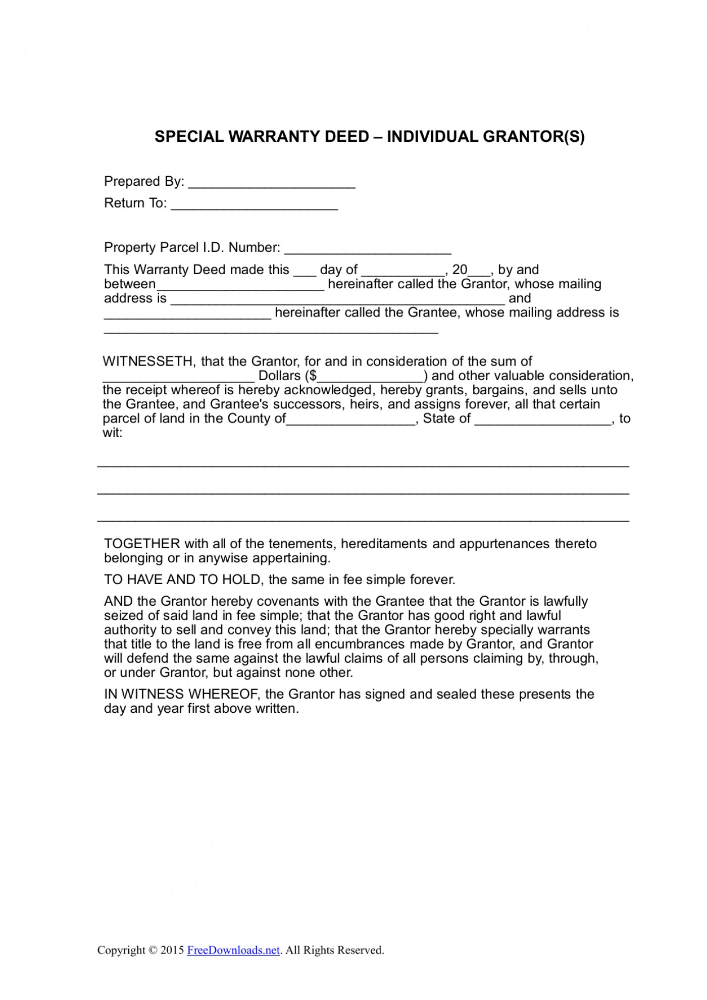 Deed Without Warranty Texas Form