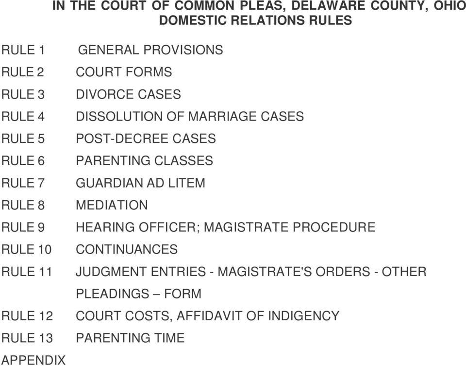 Delaware County Ohio Divorce Forms
