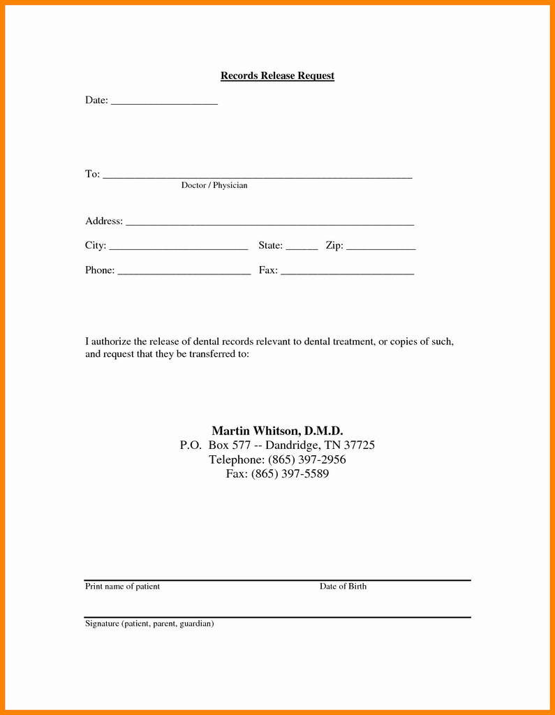 Dental Treatment Consent Form Template Inspirational Medical Records Release Letter Template Examples