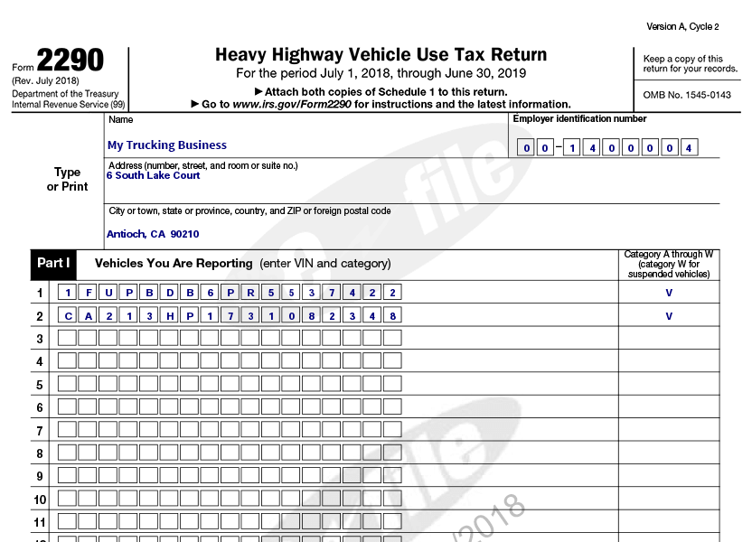 Department Of Treasury Internal Revenue Service Form 2290