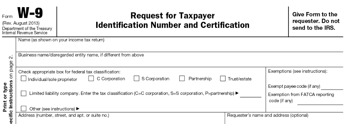 Department Of Treasury Irs Form W 9