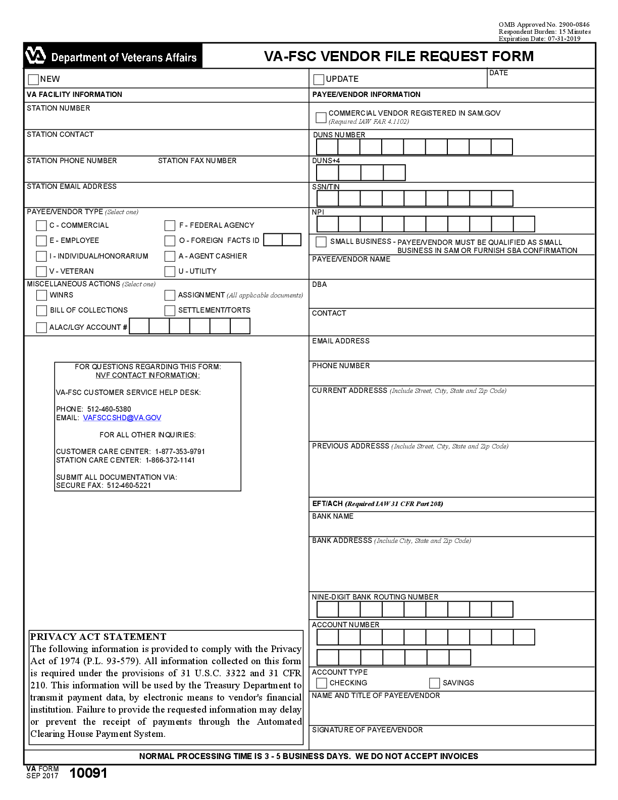 Department Of Veterans Affairs Form 10091