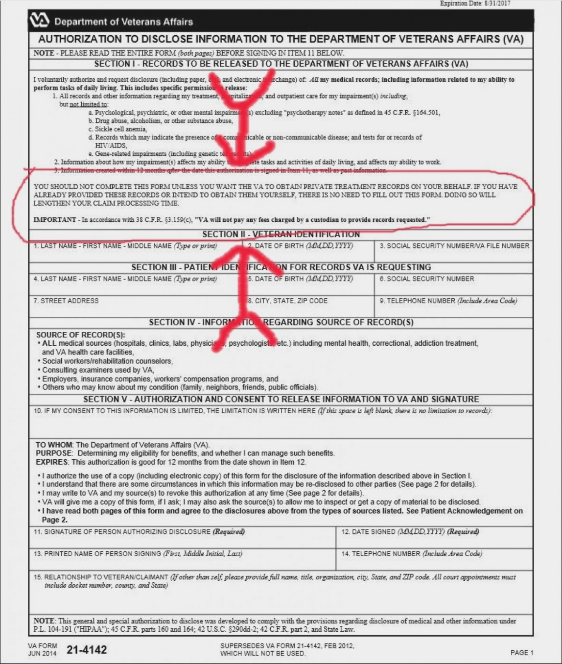 Department Of Veterans Affairs Form 21 4142a