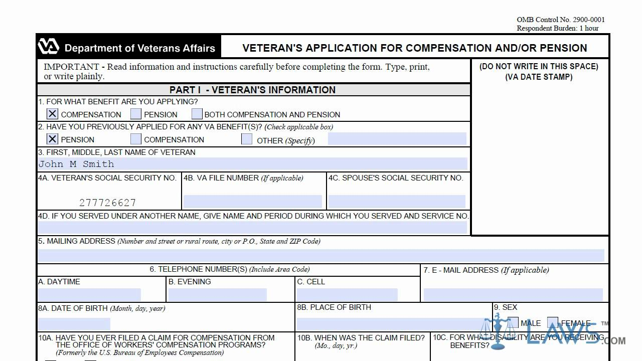 Department Of Veterans Affairs Form 21 526ez