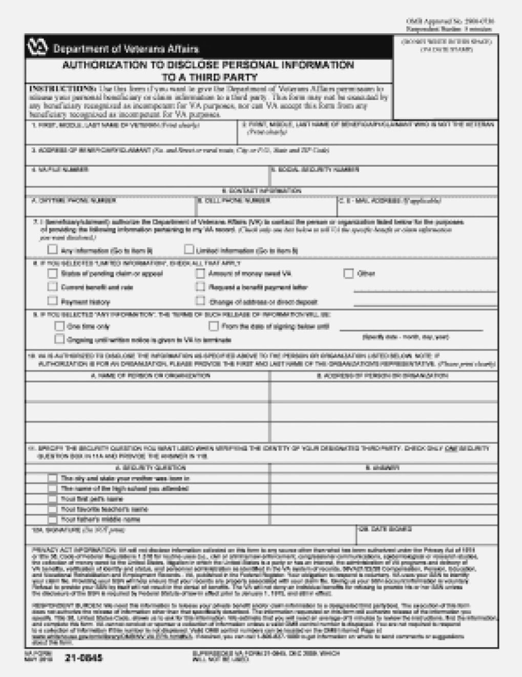 Department Of Veterans Affairs Forms 21 0845