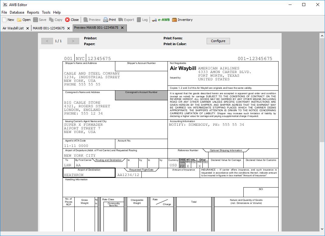 Dhl International Air Waybill Form